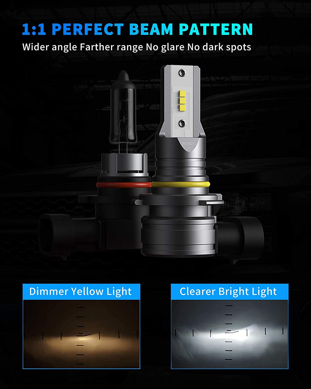 Pack of 2 HONCS 9006//HB4 LED Headlight Bulbs 300/% Brighter Wireless LED Low Beam 6500K Cool White LED Headlight Conversion Kit IP67 Waterproof