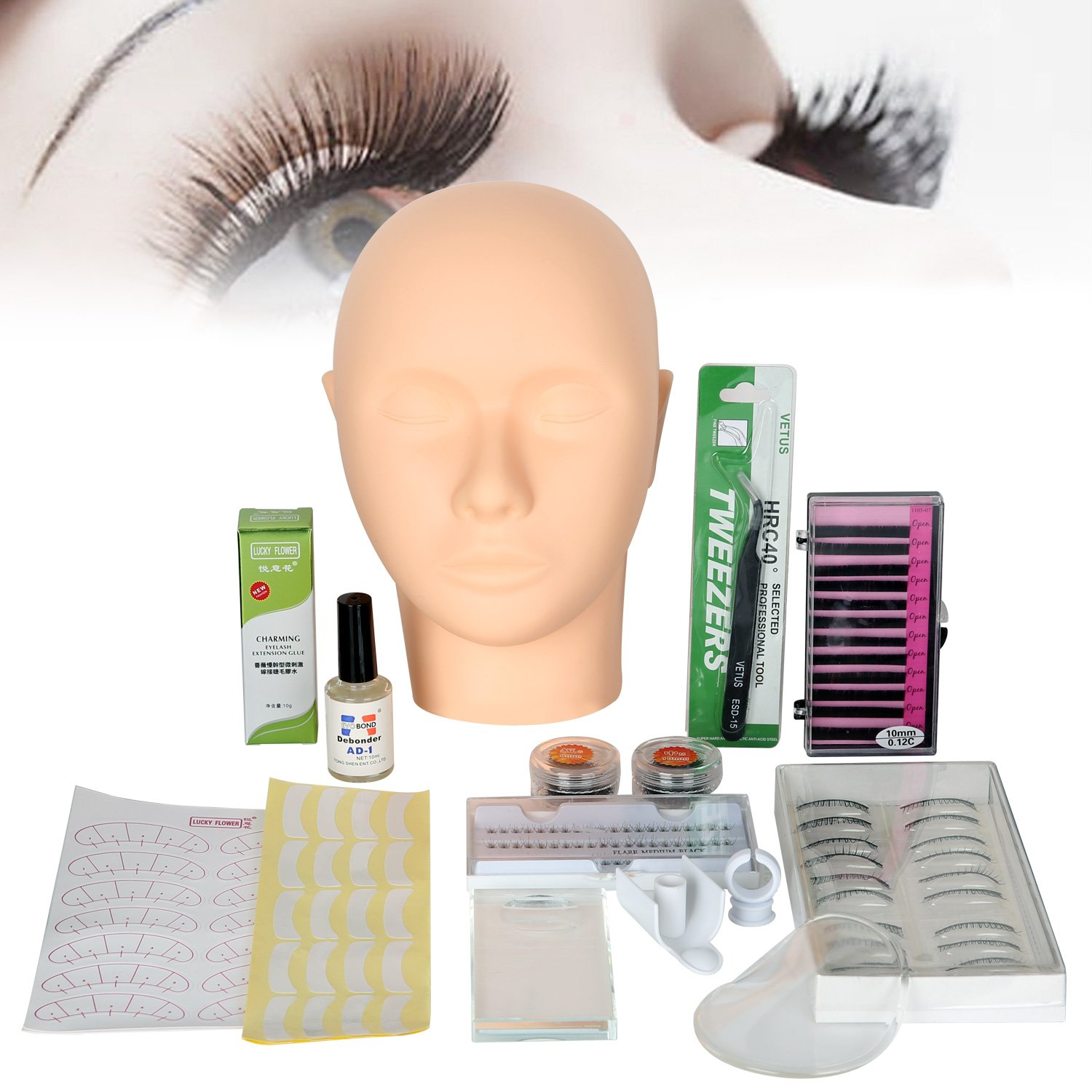 All in 1 Practice Mannequin Head for Makeup Training and Eyelash Extension Set, Yevita Professional Head Model Glue Tool Kit with Elastic Strap for Massage Eye Lashes Graft for Artist