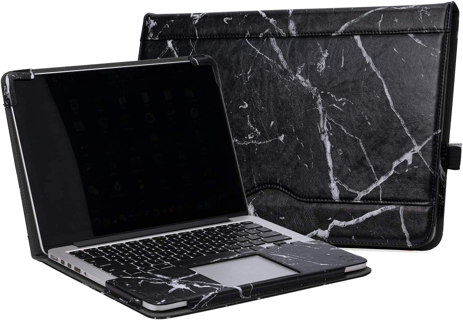 "TYTX MacBook Air Leather Case 13 Inch 2020 2019 2018 (A2179 A1932) Laptop Sleeve Protective Folio Book Cover (New MacBook Air 13"", Black Marble)"