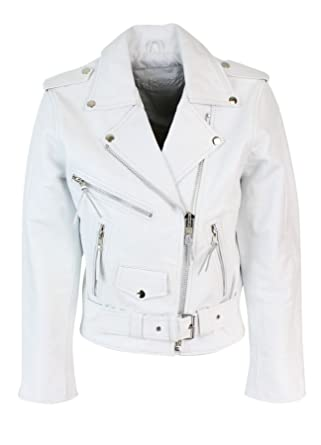 54afe6ff3586 Blouson cuir perfecto femme style Brando biker motard couleur blanche