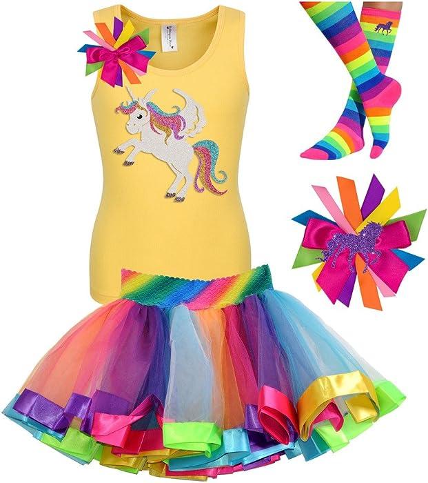 25ad46cf5c2f9 Bubblegum Divas Little Girls Unicorn Shirt Rainbow Tutu Birthday Gift Set  4pcs 6X