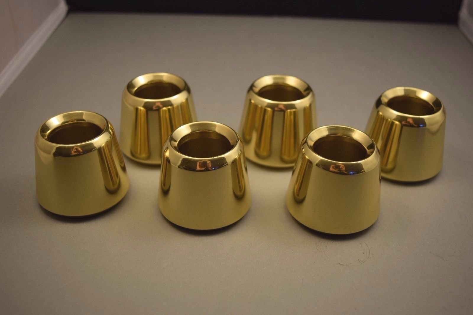 Set of 6 Solid Brass 1 1/2'' Church Candle Followers