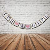 IT IS A GIRL Banner Sign Bunting Christening Baby Shower Garland Decoration Birthday Party Favors (Pink)