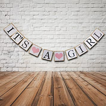 Amazon.com: Letrero con texto en inglés «IT is a Girl Banner ...