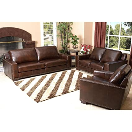Amazon.com: Abbyson Beverly 3 Piece Leather Sofa Set in ...