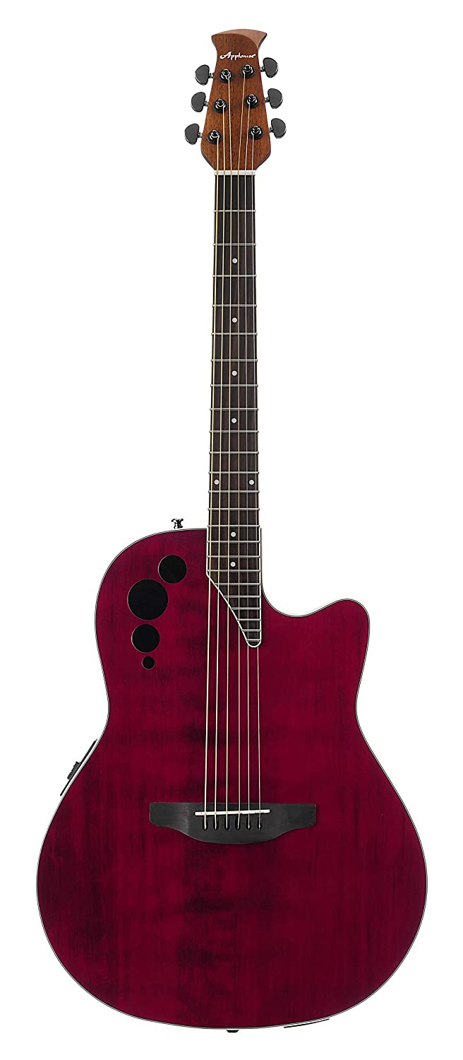 Amazon.com: Ovation Applause 6 String Acoustic-Electric Guitar, Right, Ruby Red, Mid-Depth (AE44II-RR): Musical Instruments