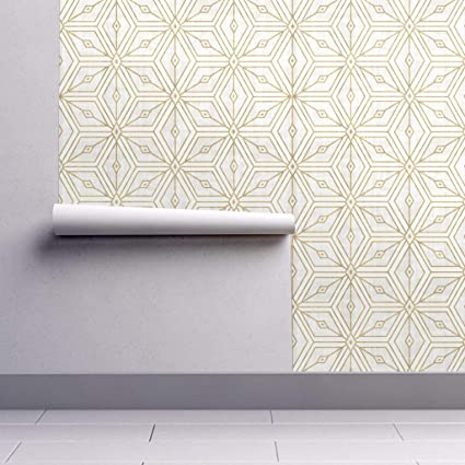 Peel-and-Stick Removable Wallpaper - Geo Geometric Gold Star Cream White Roosteryse2018 by