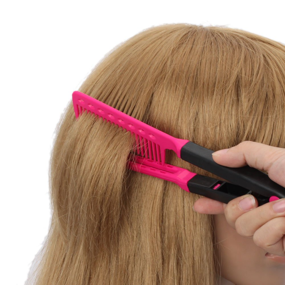ReNext 2 Pcs DIY Salon Hairdress Hairdressing Styling Hair Straightener V Shape Comb