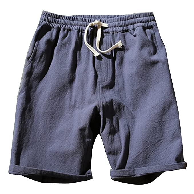 LaoZanA Cargo Bermudas Hombre Pantalones Cortos De Playa Deportivos Chinos  Pantalon Lino Cintura Elástica  Amazon.es  Deportes y aire libre d17599f0d672