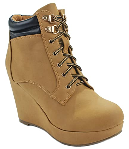 JoJo10 Fashion Combat Lace Up Platform Casual Sneaker Wedge Bootie Boots
