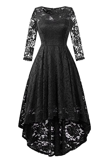 fd7d4d880fe57 BBX Lephsnt Womens Lace Cocktail Dress Elegant Floral Sleeveless Swing High  Low Formal Prom Dress