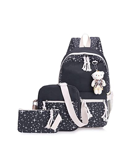38d48c1ce680c0 Amazon.com: Women's Tassel Pendant Backpack Fresh Bear Pedant Stars Pattern  Canvas Bags 3Pcs Set For provide By [Zhao Liang]: Shoes