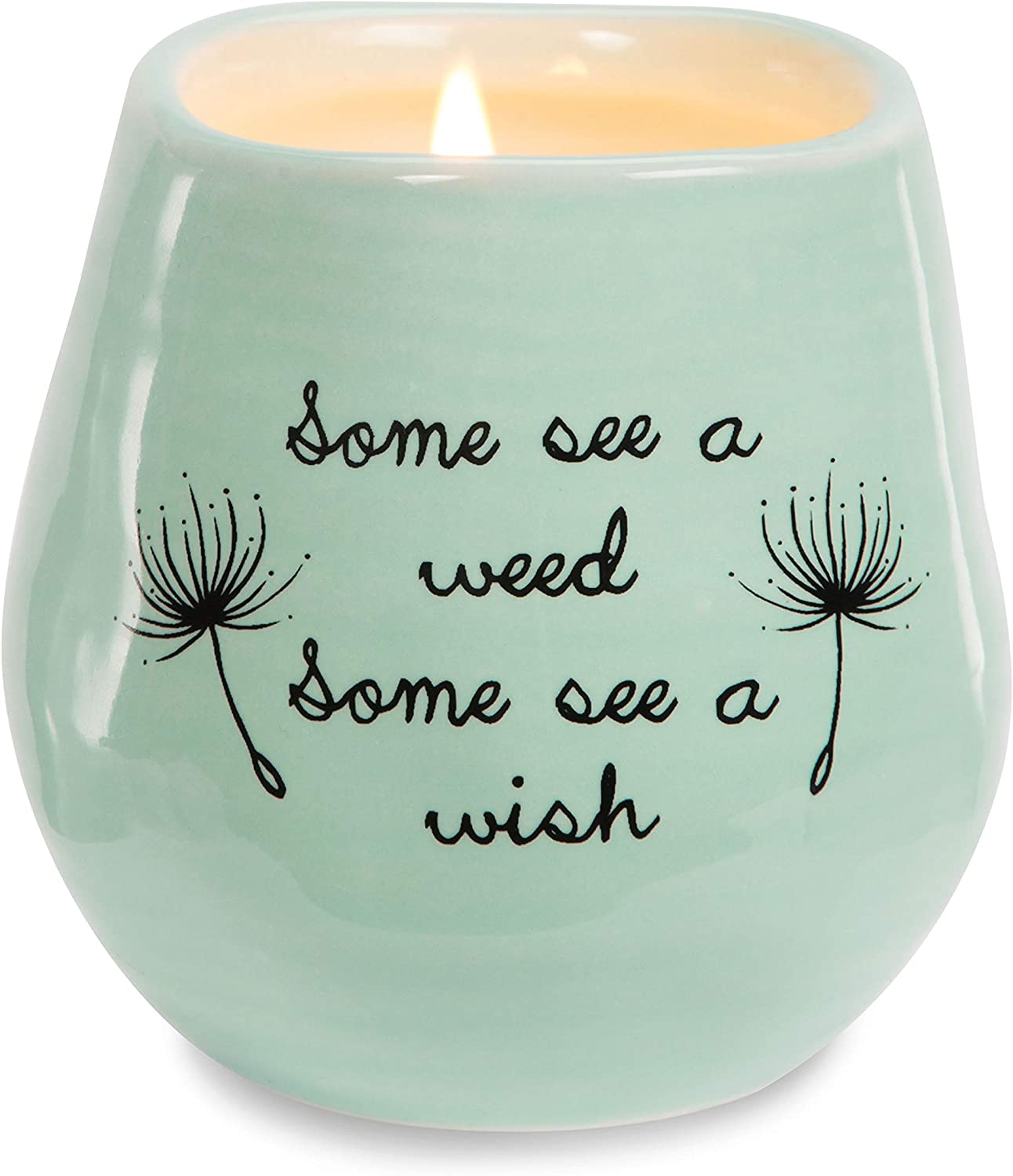 Pavilion Gift Company Plain Dandelion Weed Some See a Wish Green Ceramic Soy Serenity Scented Candle