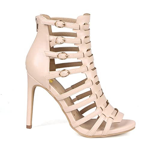 c727fc44ad7b Mark and Maddux Cliff05 Gladiator Women s Ankle High Heel Sandals in Nude