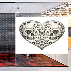 LCGGDB No-Glue Static Decorative Privacy Window Films,Twin Half Fire Design in Hearts Festive Spanish Image Print Glass Films for Home Office Meeting Room Classroom,42x36,Cream and Black