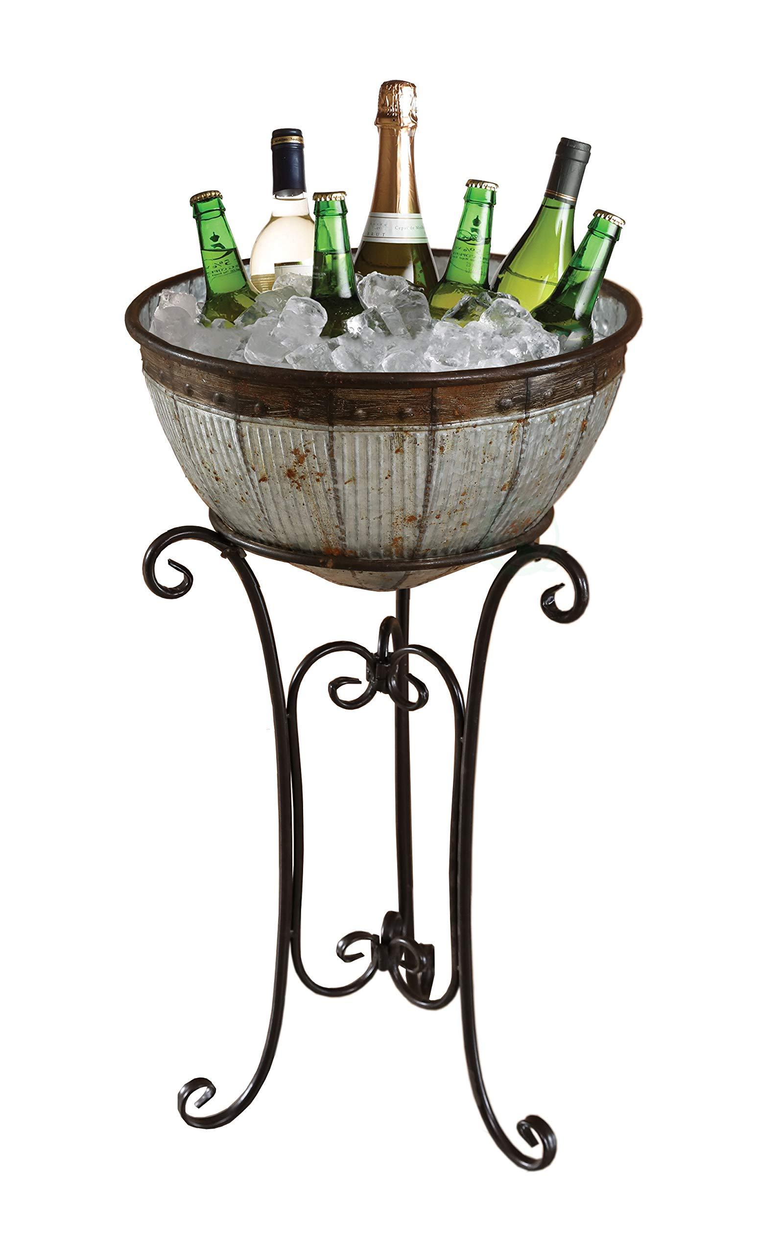 Vintiquewise QI003628 Galvanized Metal Standing Beverage Cooler Tub with Liner, Large, Gray
