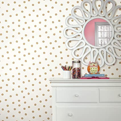 Roommates Gold Dot Peel And Stick Wallpaper Amazoncom