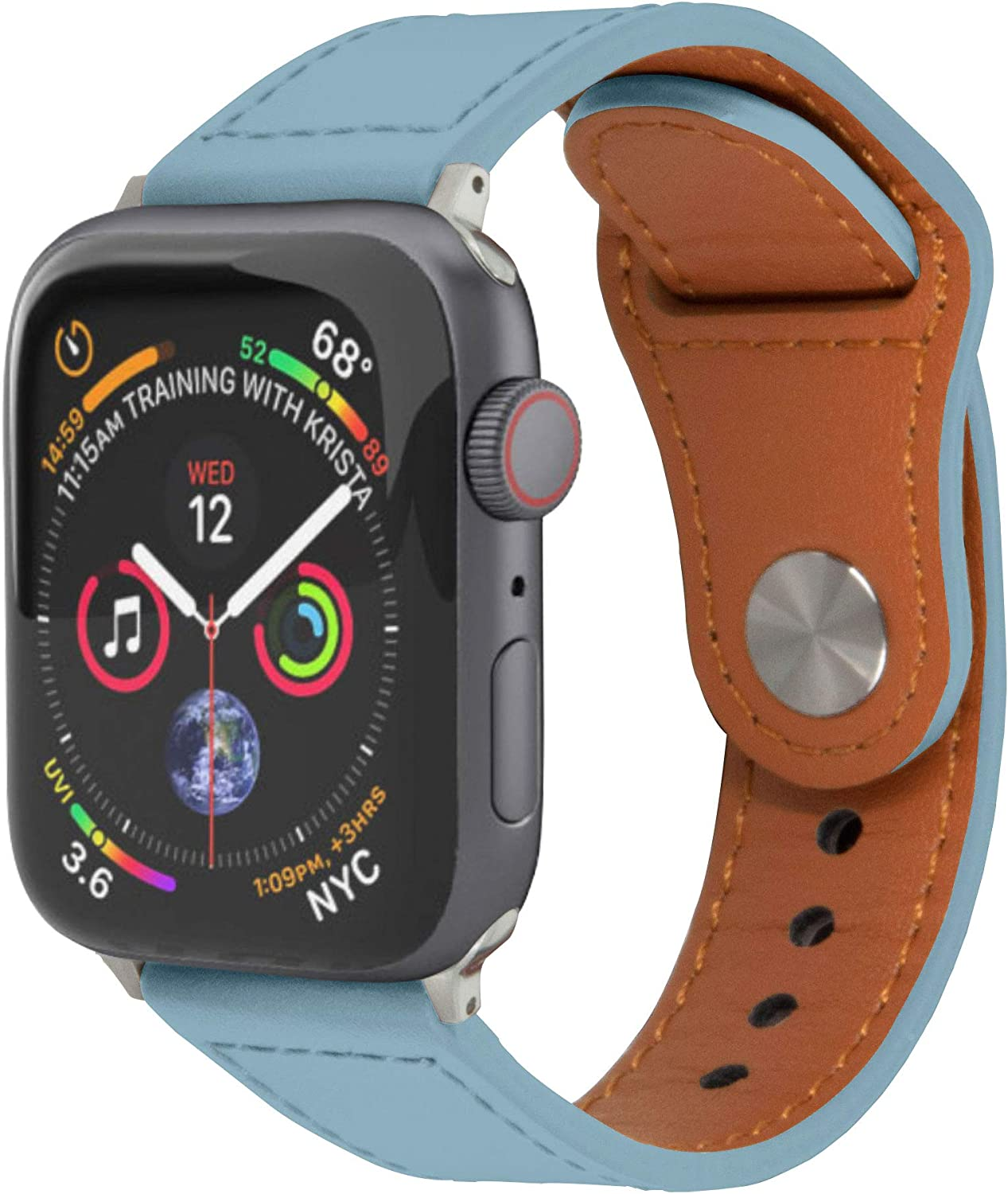 Watch Leather Band Strap, TUFRIND Genuine Premium Leather Band Compatible with Apple Watch (SkyBlue, 38/40 mm)