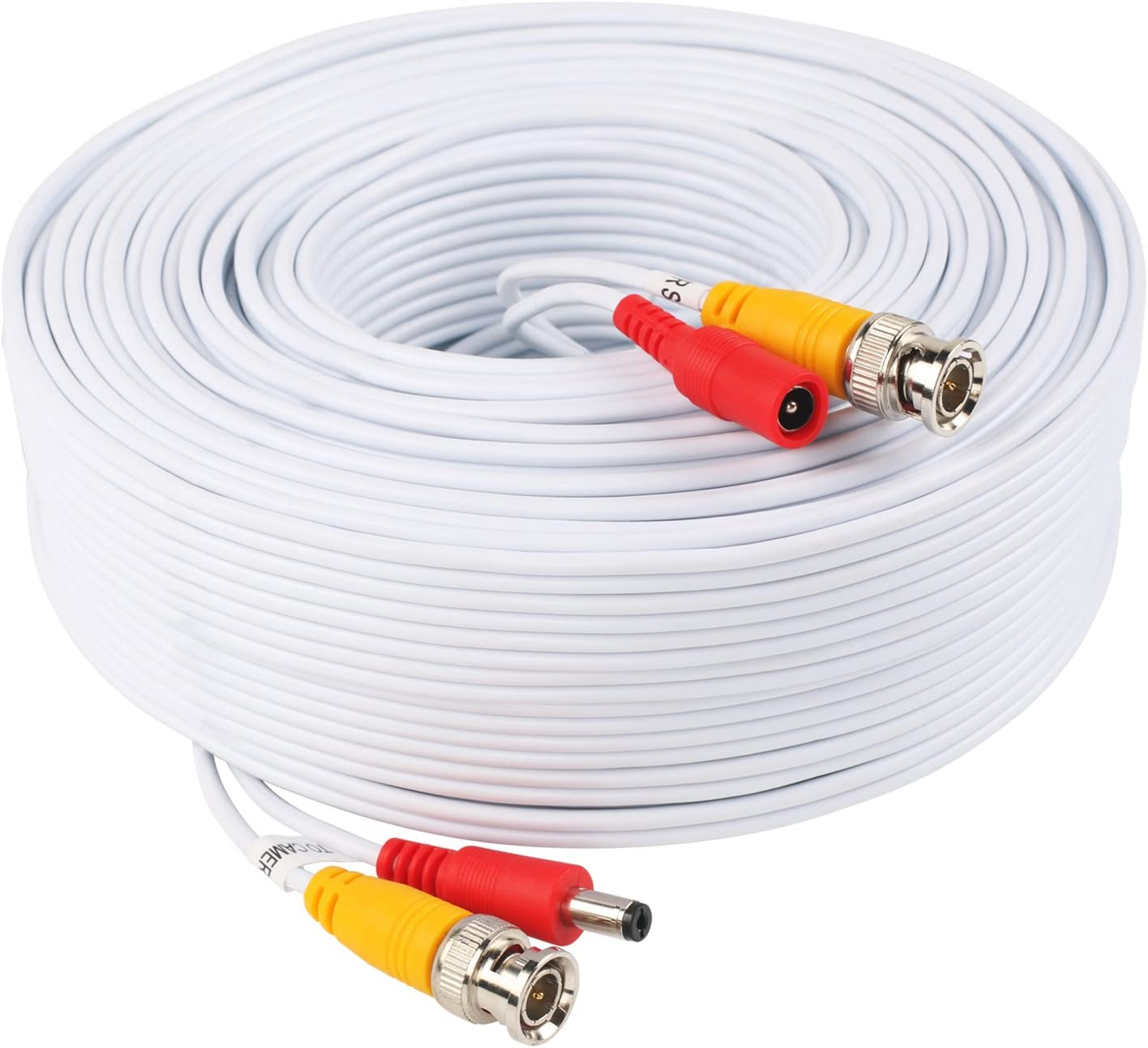 BNC Video Power Cable 100 Feet Pre-Made All-in-One Video Security Camera Cable Wire with Two Connectors for CCTV DVR Surveillance System