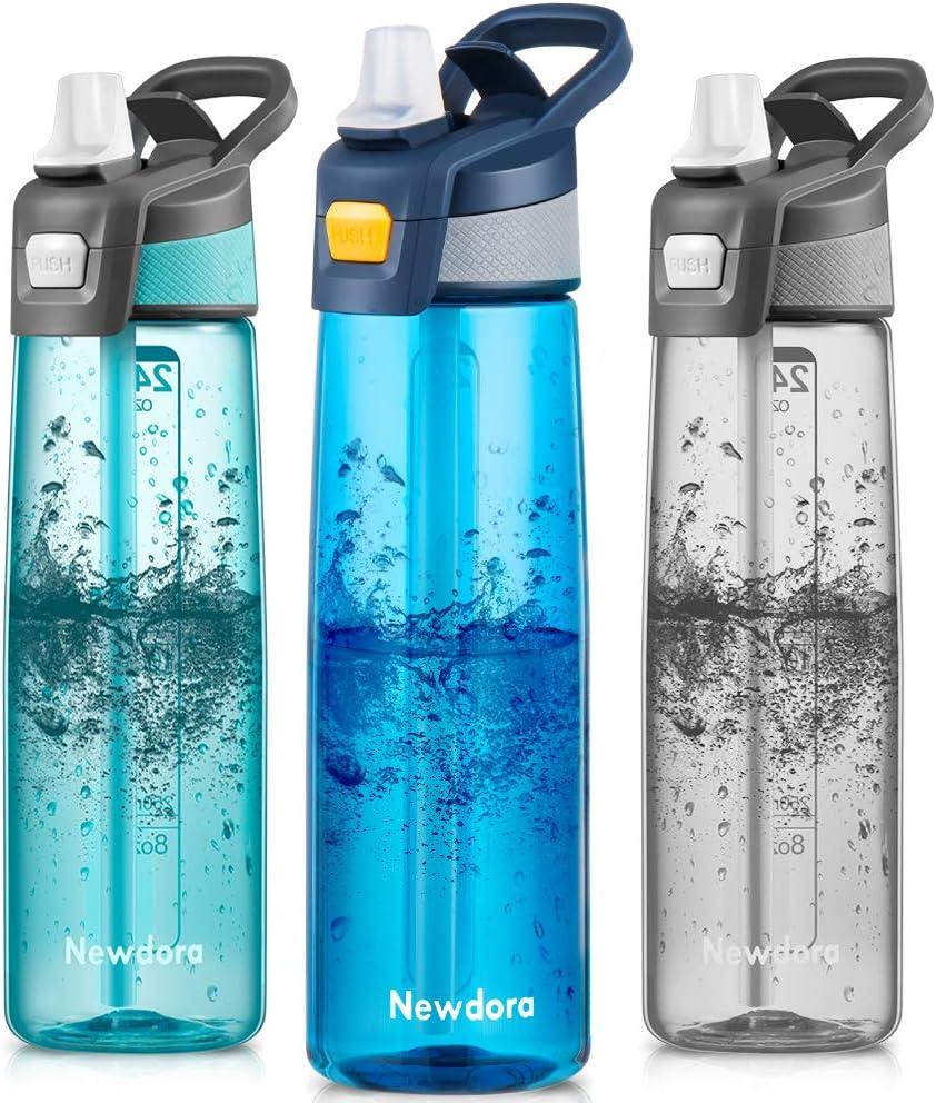 Newdora Botella de Agua Deportiva [750ml/24oz] con Pajita y Cepillo de Limpieza - Libre de BPA y Tapón a Prueba de Fugas para Excursionismo, Ciclismo, Running, Acampada, Gimnasio