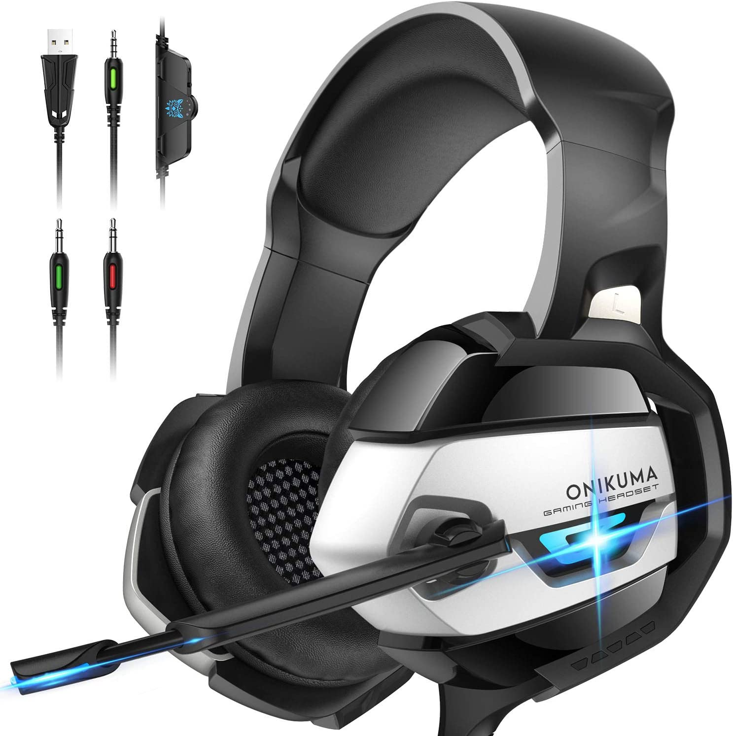 Amazon Com Onikuma Gaming Headset For Ps4 Ps4 Gaming Headset With 7 1 Surround Sound Xbox One Headset With Noise Canceling Mic Led Light Over Ear Headphones For Ps4 Xbox One Pc Mac Laptop Black