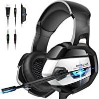 ONIKUMA PS4 Headset -Xbox One Headset Gaming Headset Noise Canceling Gaming Headphones with Mic & LED Light for PS4,Playstation,Xbox One(Adapter Not Included)