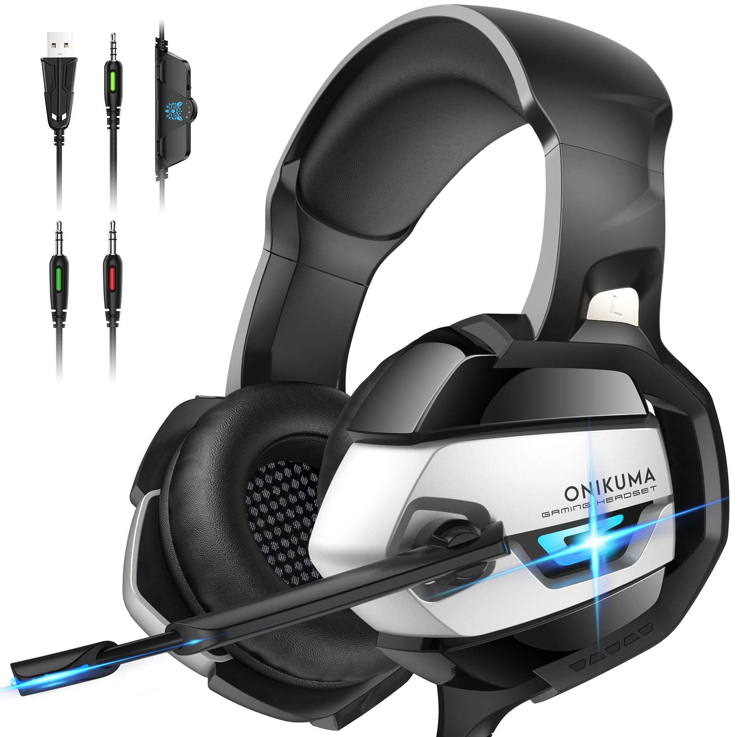 ONIKUMA Gaming Headset - Xbox One Headset PS4 Headset PC Headset with Noise Canceling Mic Gaming Headphones for PS4, Xbox One, PC (Adapter Not Included)