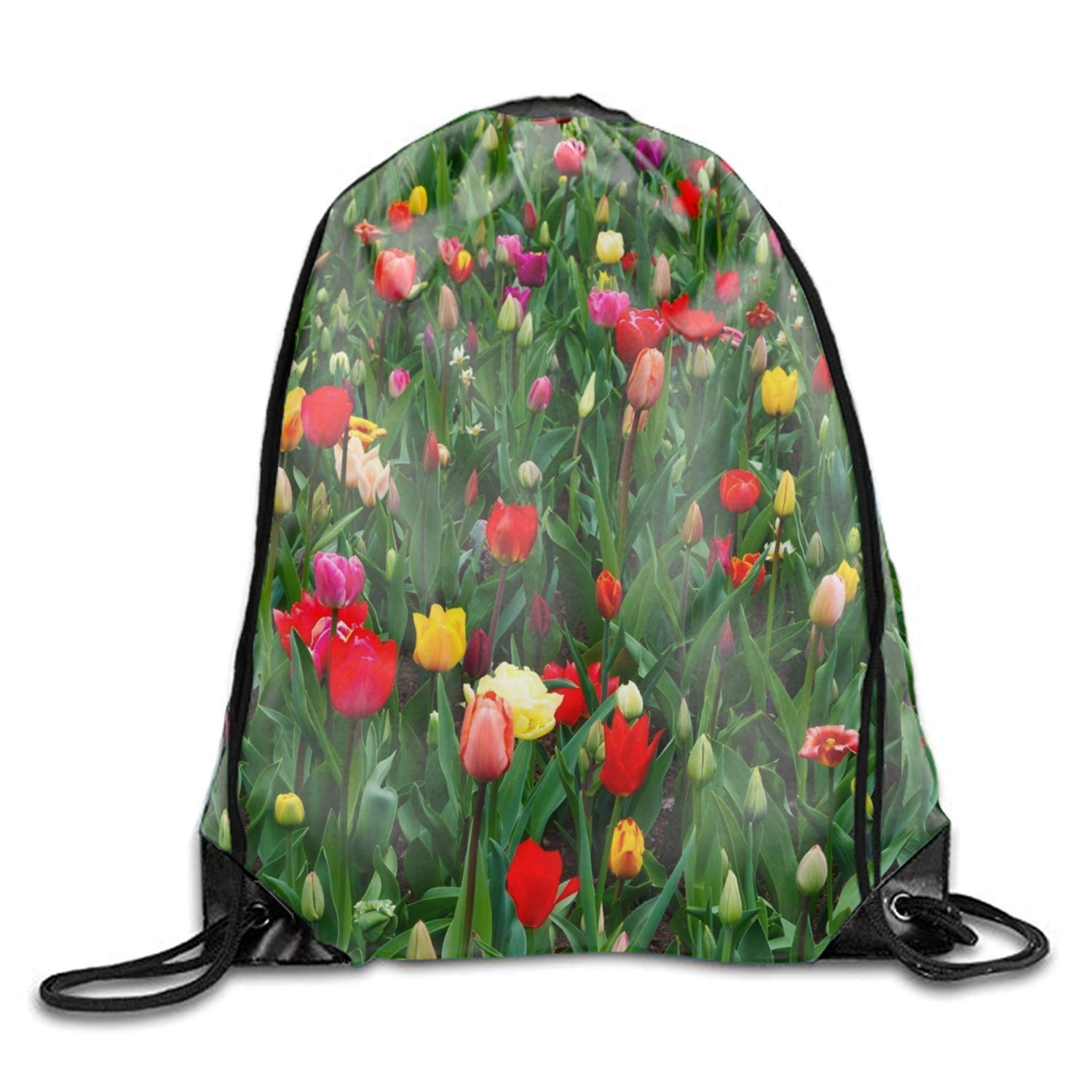 gthytjhv Garden of Tulips Drawstring Backpack Sport Bags Cinch Tote Bags for Traveling and Storage Garden of tulips10 Lightweight Unique 16.9x14.2: ...