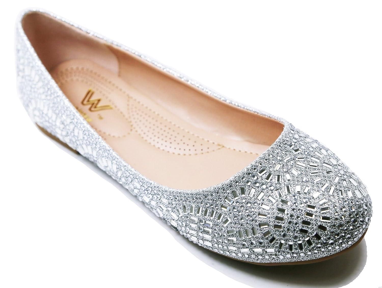 Walstar Women Rhinestone Flats Glitter Mesh Flats Slip on Shoes B072597611 7.5 B(M) US|Rhinestone-silver