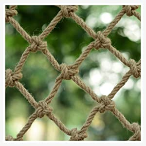 XXN Hemp Rope Net,Balcony Railing Protection Fence Net Garden Plant Climbing Growing Decoration Netting Hemp Twisted Manila Natural Cotton Jute Uniform Mesh Non-Slip,Endurance,Anti-wear