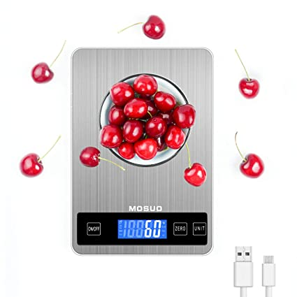 MOSUO Báscula Cocina Digital con Cable USB, Balanza Electronica Bascula de Alimentos Bascula Precision 10kg