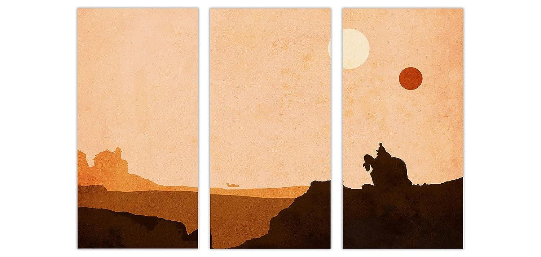 "Tatooine Star Wars Desert World 3 Panel Gerahmter Bilder Leinwand Prints Movie Bilder Gerahmter Film Poster Wall Art, canvas holz, 5- 3 X 40"" X 20"" (3 X 102CM X 50CM) 843627"