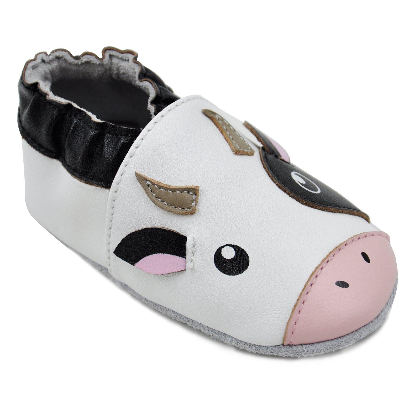 Kimi + Kai Baby Unisex Lambskin Leather Soft Sole Shoes - Cow (6-12 Months) Black/White by Kimi & Kai