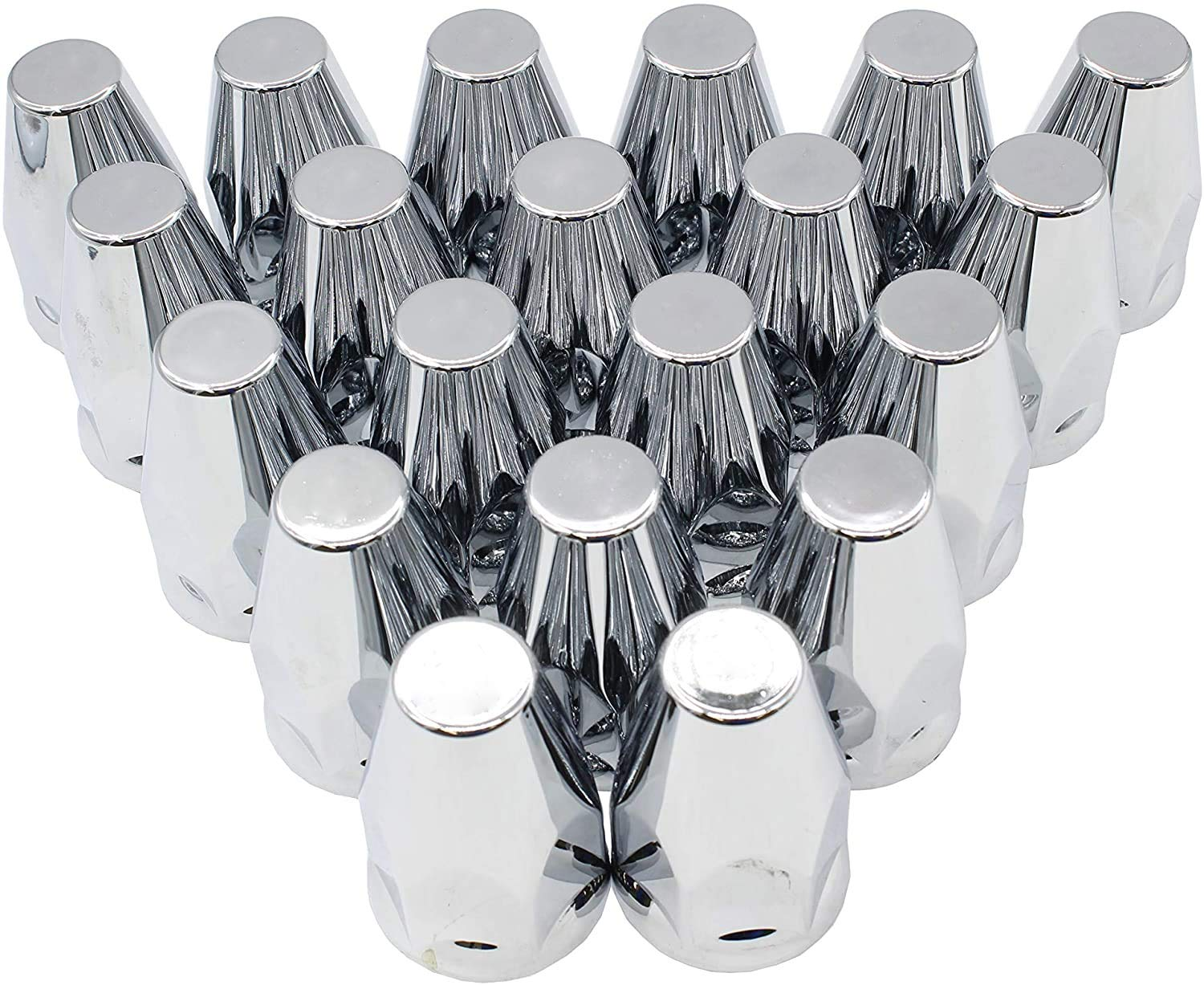 LJ INTERNATIONAL Nut Cover Chrome ABS Threaded Lug Nut Covers With Flange 33mm and 32mm-20pcs