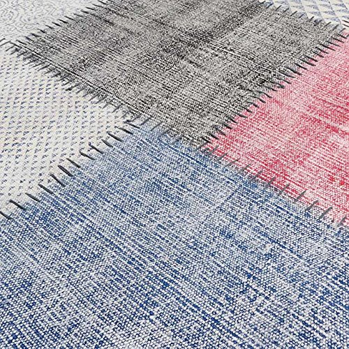Eyes of India 4 X 6 ft White Colorful Cotton Block Print Accent Area Overdyed Dhurrie Rug Woven Flat Weave by Eyes of India (Image #3)