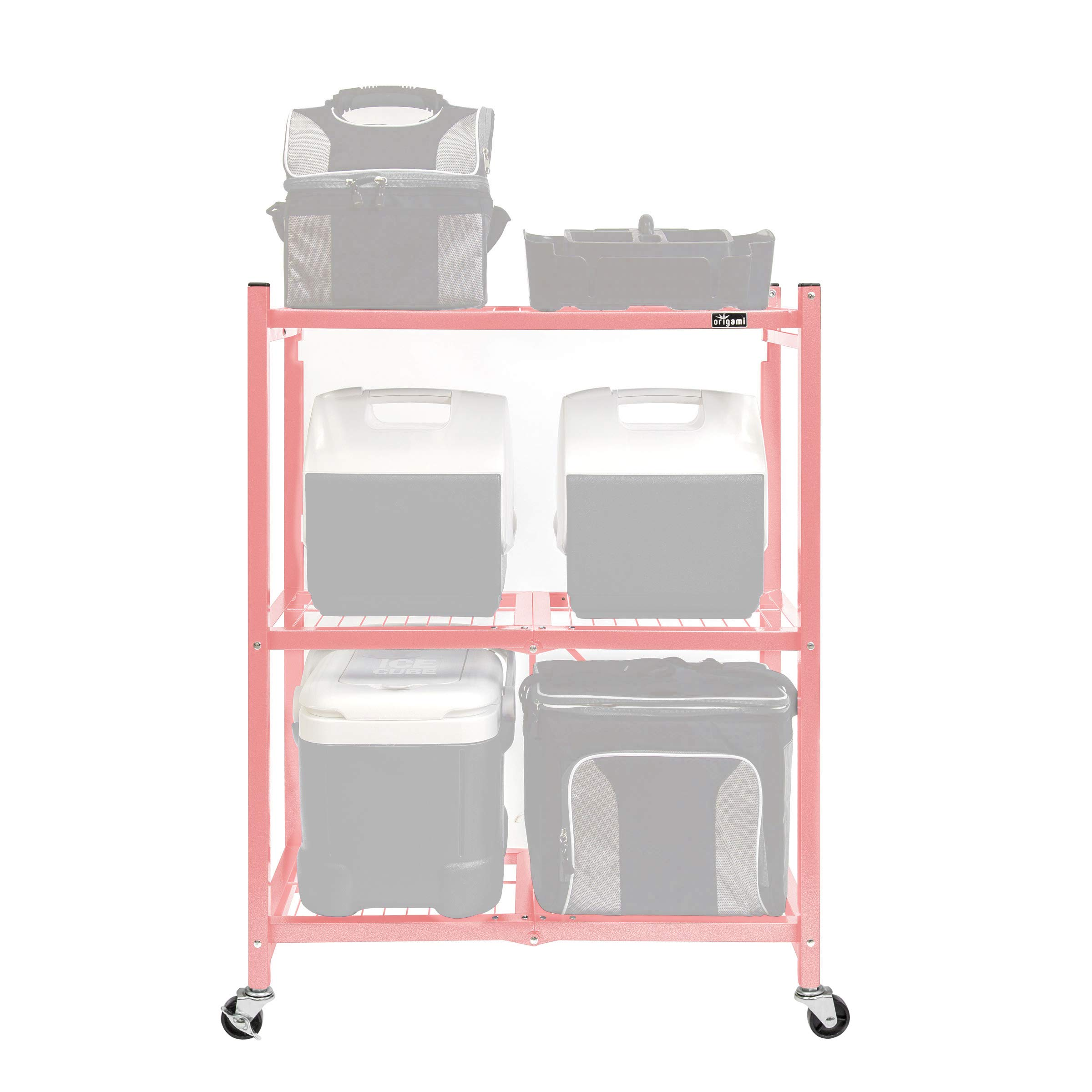 Origami 3-Shelf General Purpose Collapsible/Foldable Shelving Unit, Small Rack with Wheels | Organizer, Rolling Cart, Home Kitchen Laundry Closet Storage, Metal Wire, Pre-Assembled | Coral