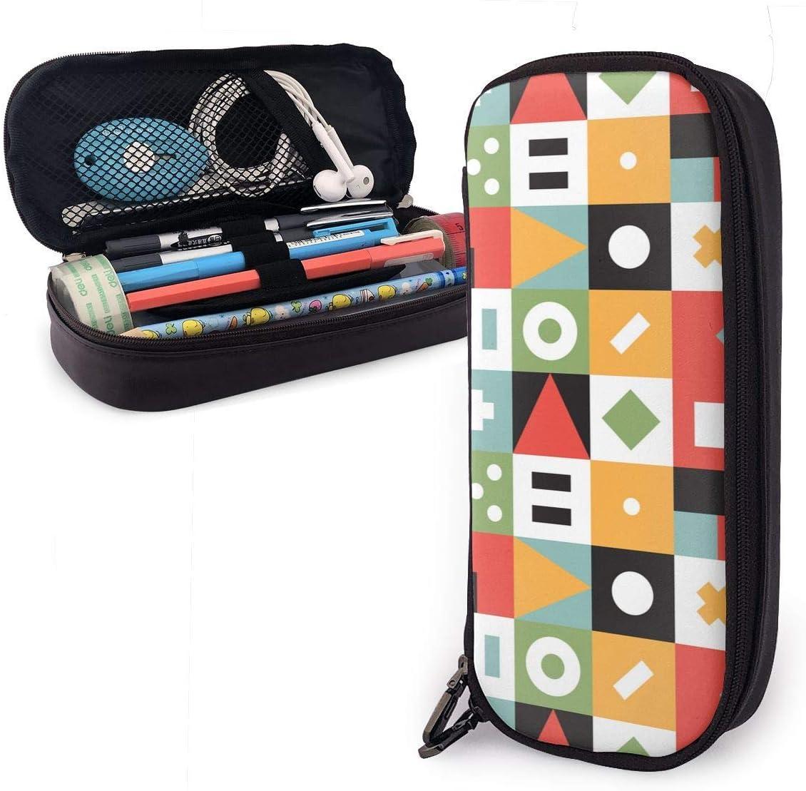 Mosaico cuadrado colorido retro Símbolos matemáticos Estuche de cuero Estuche de lápices Estuche para bolígrafo Multifunción