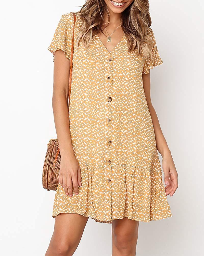 Women\'s Summer Button Down Polka Dot Dress Casual Ruffle Beach Sundresses Flowy Bohemian V Neck Cute Mini Tshirt Dress Yellow