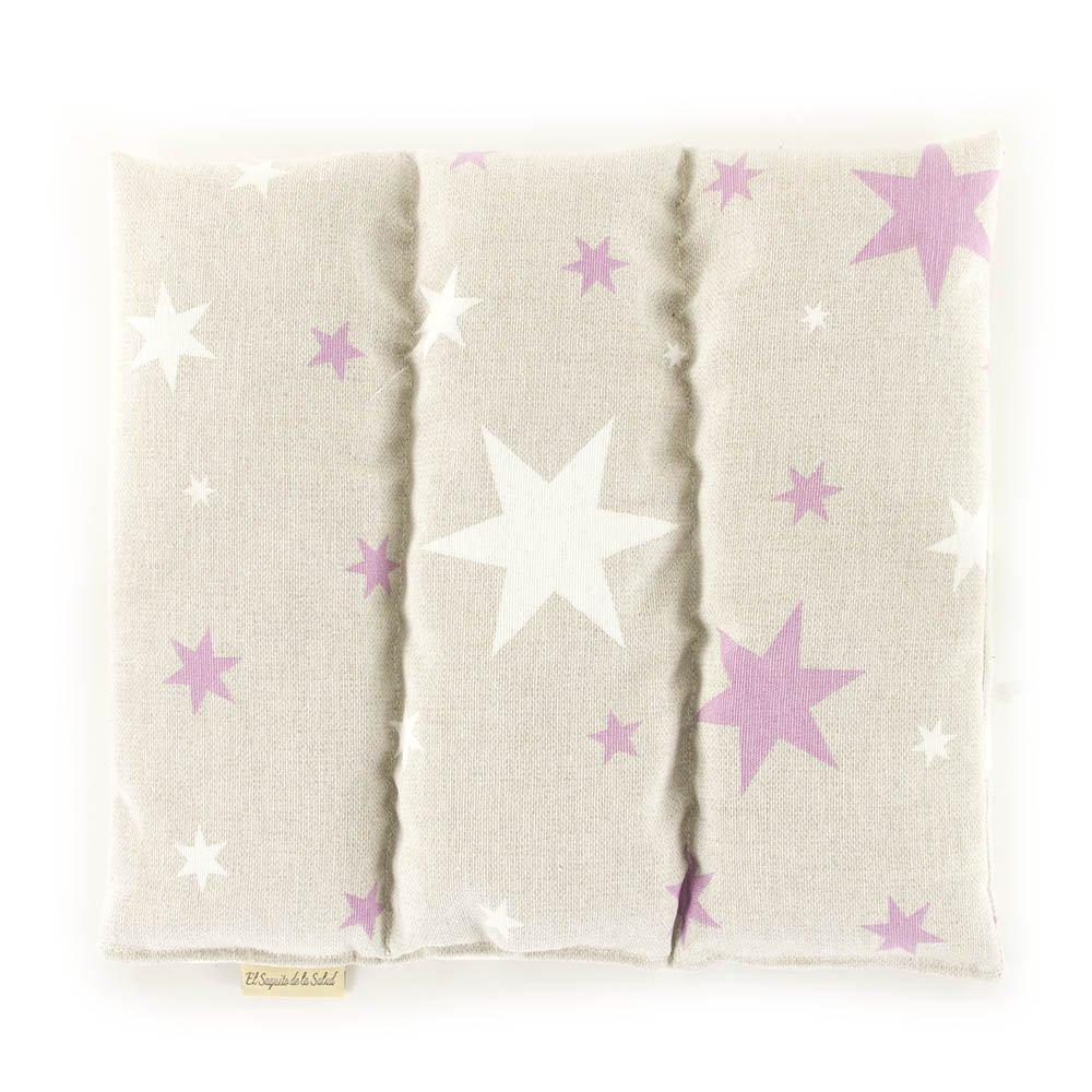 Saco Térmico de Semillas aroma Lavanda, Azahar o Romero tejido Estrellas Rosas (Azahar, 23 cm) Saquito de la Salud