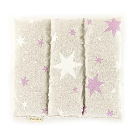 Saco Térmico de Semillas aroma Lavanda, Azahar o Romero tejido Estrellas Rosas (Sin Aroma