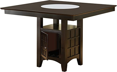 Gabriel Counter Height Dining Table with Storage Pedestal Base Cappuccino