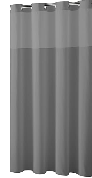 Mystery EZ On RBH40MY225 Sheer Fabric Shower Curtain With Lightweight Liner    Frost Grey