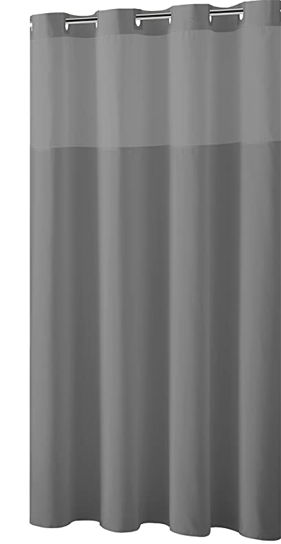 mystery ezon rbh40my225 sheer fabric shower curtain with lightweight liner frost grey