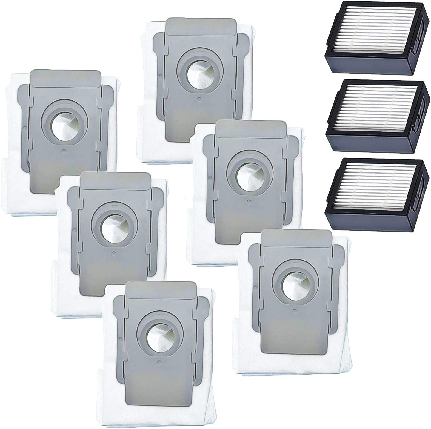 ZVac iRobot Roomba Replacement Parts - Compatible with i7, i7+, S9, S9+, E5, and E6 Vacuum Cleaner Series - 6-Pack HEPA Disposable Dust Bags with 3 High-Efficiency Filters for Parts 4640235, 4639161
