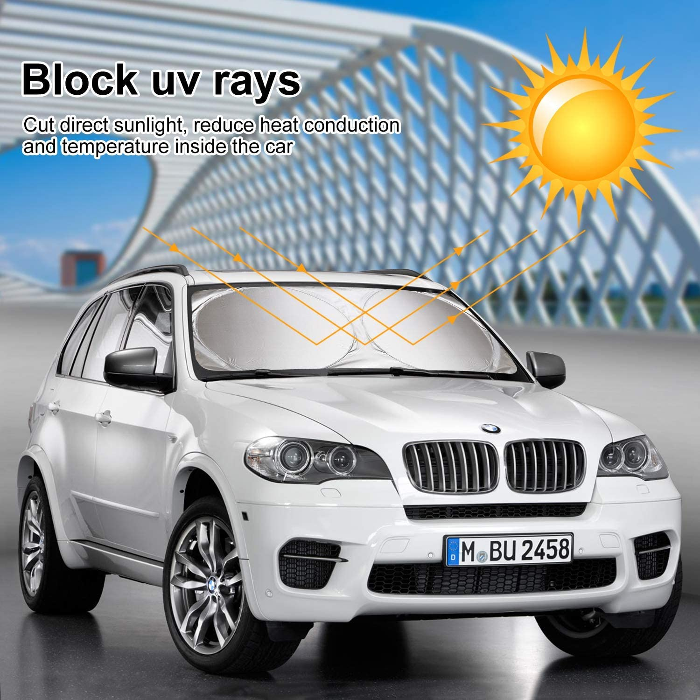 efecto 3D 27,5 x 51 pulgadas RTBB Parasol universal para parabrisas de coche plegable para quemar m/úsica