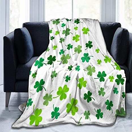 Twin Size Flannel Fleece Adults Bed Blanket Soft Throw-blankets for Kids Girls Boys,Green Four Leaf Clover St.Patricks Day,Lightweight Breathable Blankets for Bedroom Living Room Sofa Couch,39x49in