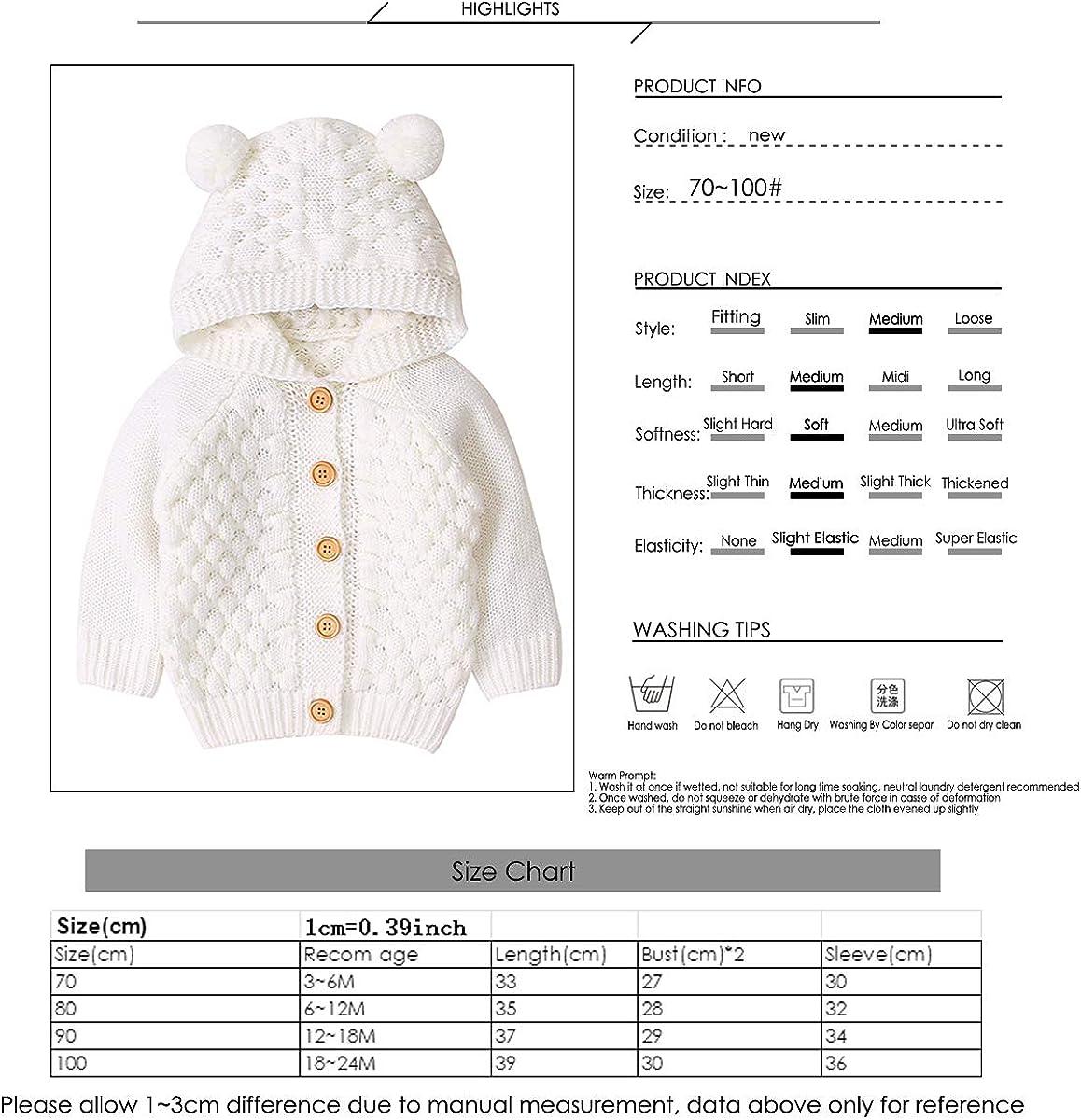 Borlai 3-24 M Bambino Cappotto Lavorato A Maglia Carino Orso Orecchio Con Cappuccio Maglione Giacca Casual Cardigan Outwear per Bambino