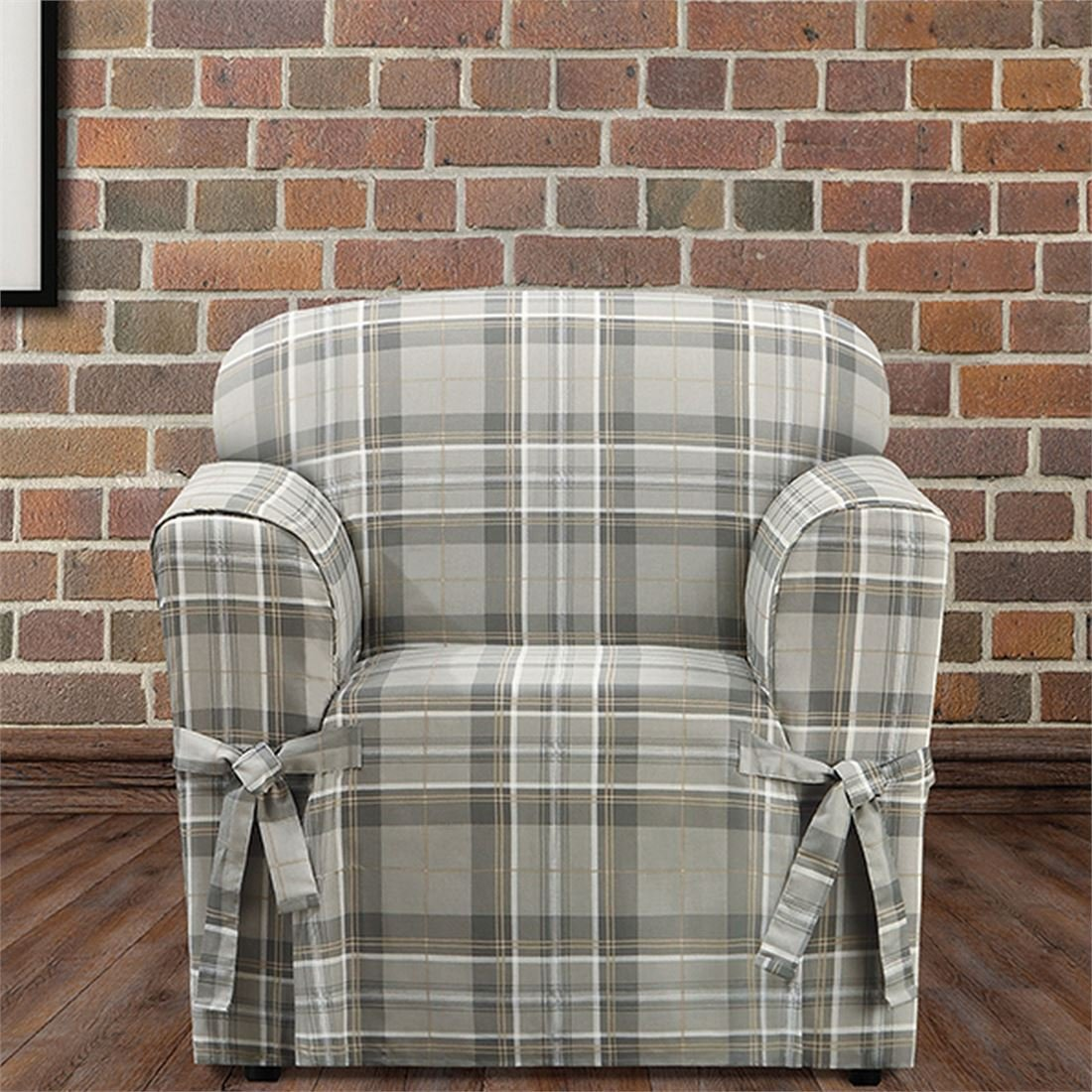 Tan Chair Slipcover New In Package Sure Fit Highland Plaid 1 Piece Slipcovers Furniture