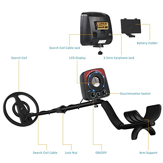 ÖTEK Lightweight Metal Detector with Waterproof Search Coil, High SENS to Hunt Gold, Silver, Jewelry, Relics for Adults/Beginners-Includes Folding Shovel ...