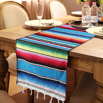 Stupendous Ourwarm Mexican Table Runner Handwoven Fringe Cotton Serape Blanket Table Runners Colorful Mexican Stripe Table Runner For Mexican Party Decorations Download Free Architecture Designs Intelgarnamadebymaigaardcom